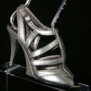 Calvin Klein Belle silver leather t-strap heels 6M